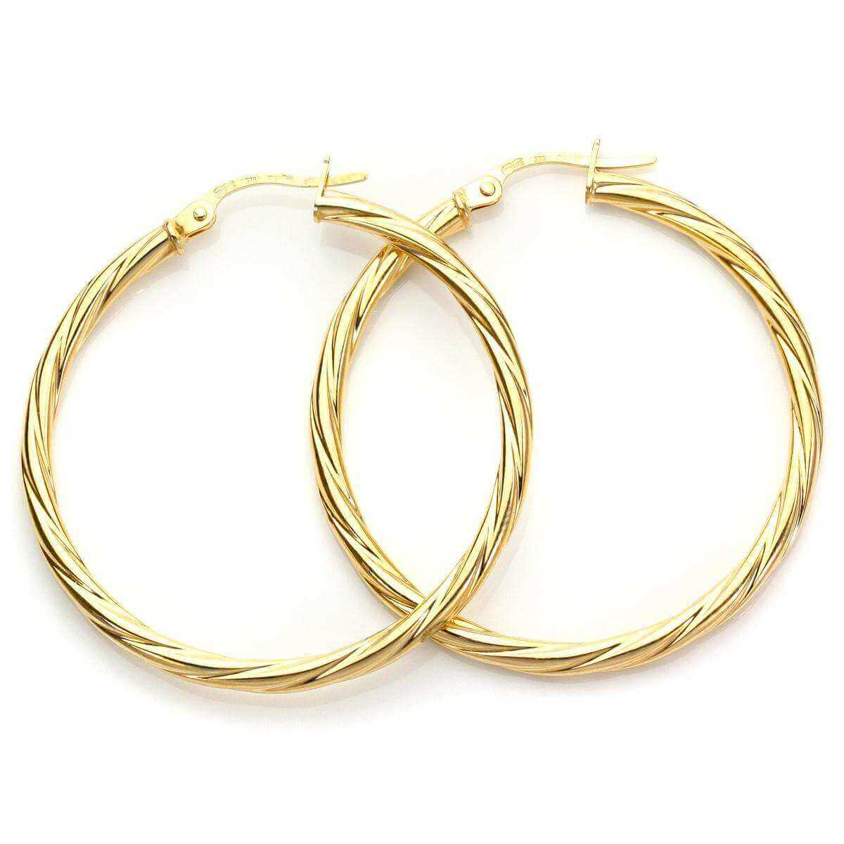 9ct Yellow Gold 30mm Twisted Creole Earrings