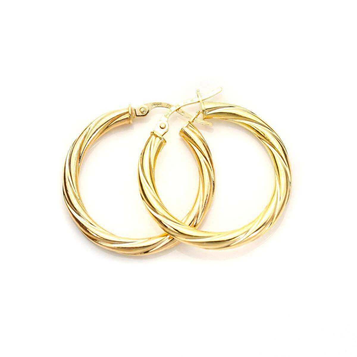 9ct Yellow Gold 20mm Twisted 3mm Creole Earrings