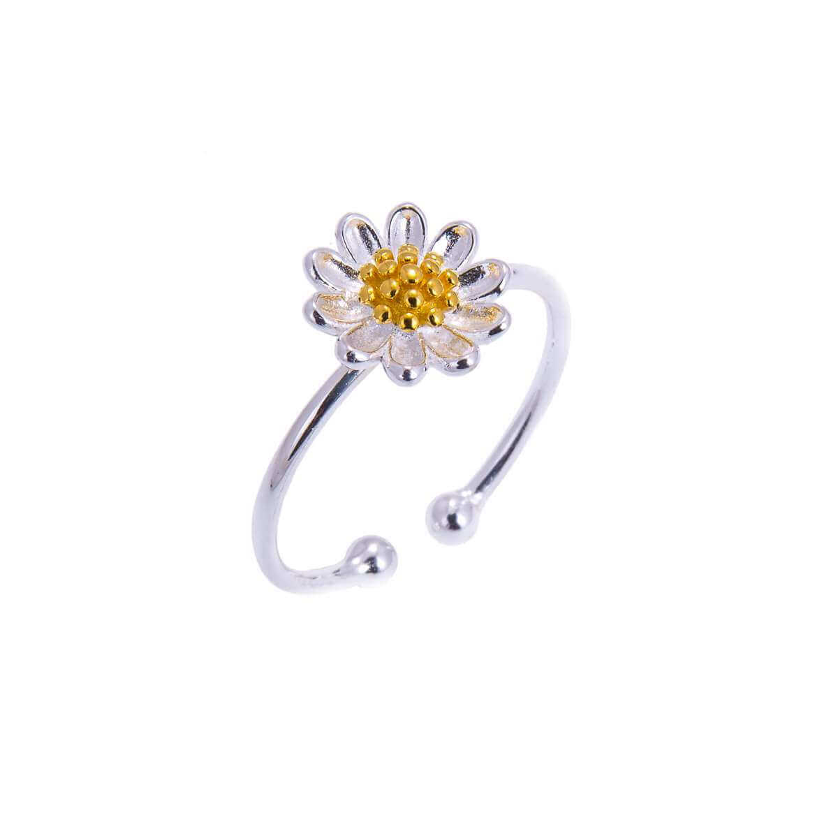 Gold Plated Sterling Silver Daisy Adjustable Ring