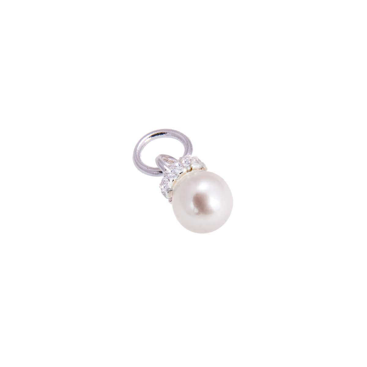 Sterling Silver CZ & Pearl Charm