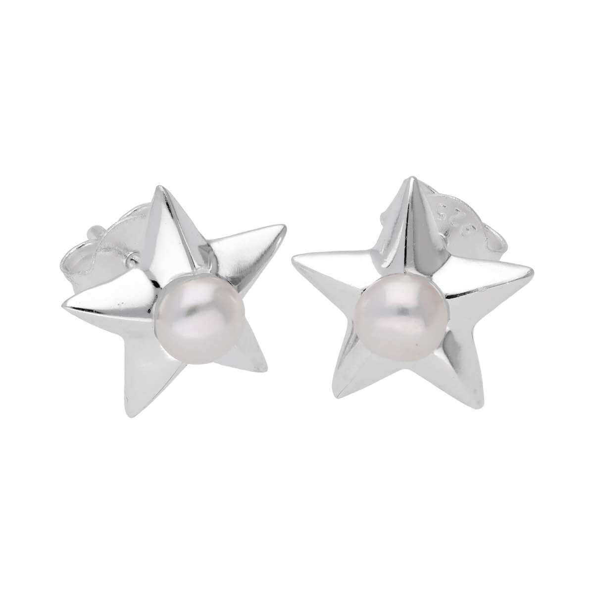 Sterling Silver & Pearl Star Stud Earrings