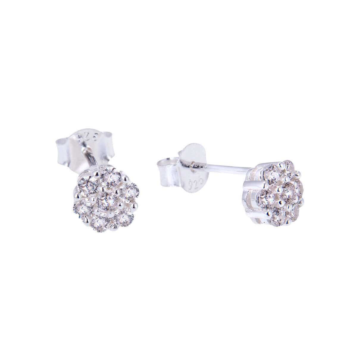 Sterling Silver & CZ Crystal Cluster Stud Earrings