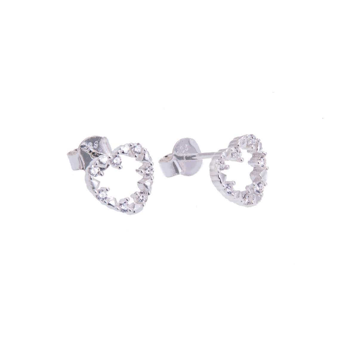 Sterling Silver & CZ Crystal Jagged Open Heart Stud Earrings