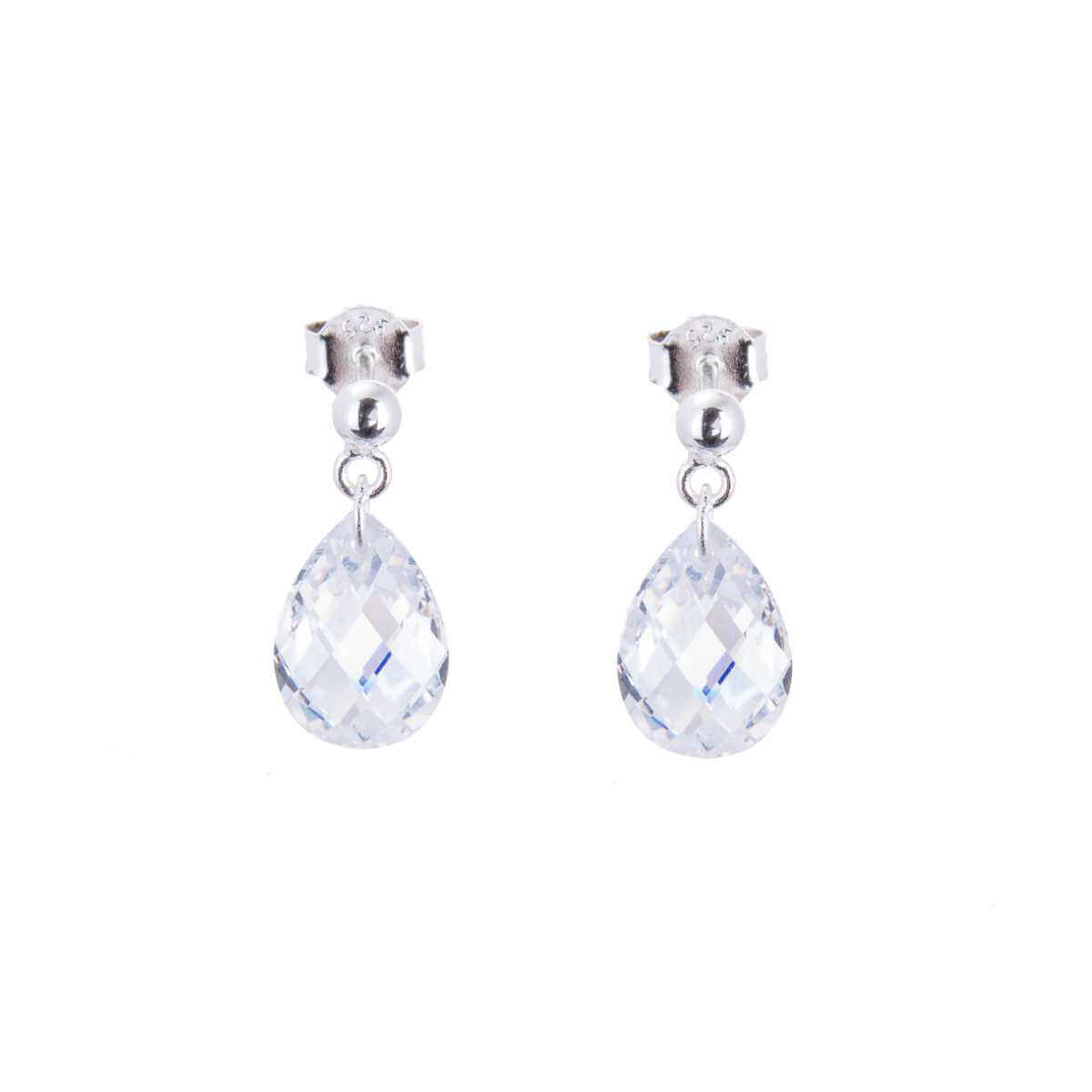 863ca0fe3 Sterling Silver & Faceted Pear Drop CZ Crystal Stud Earrings