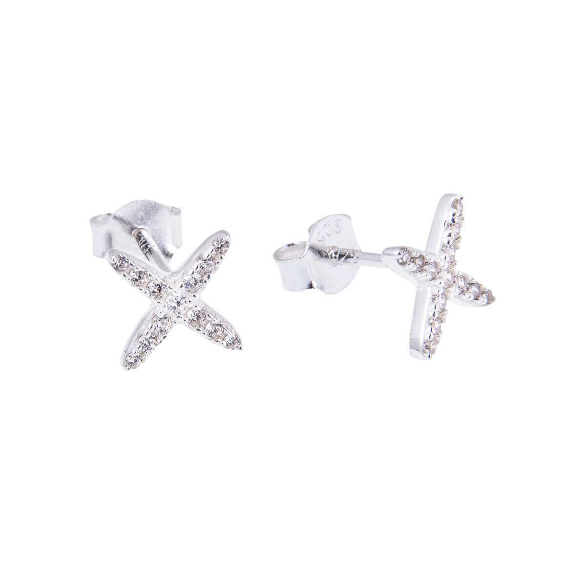 Sterling Silver CZ Encrusted X Criss Cross Stud Earrings