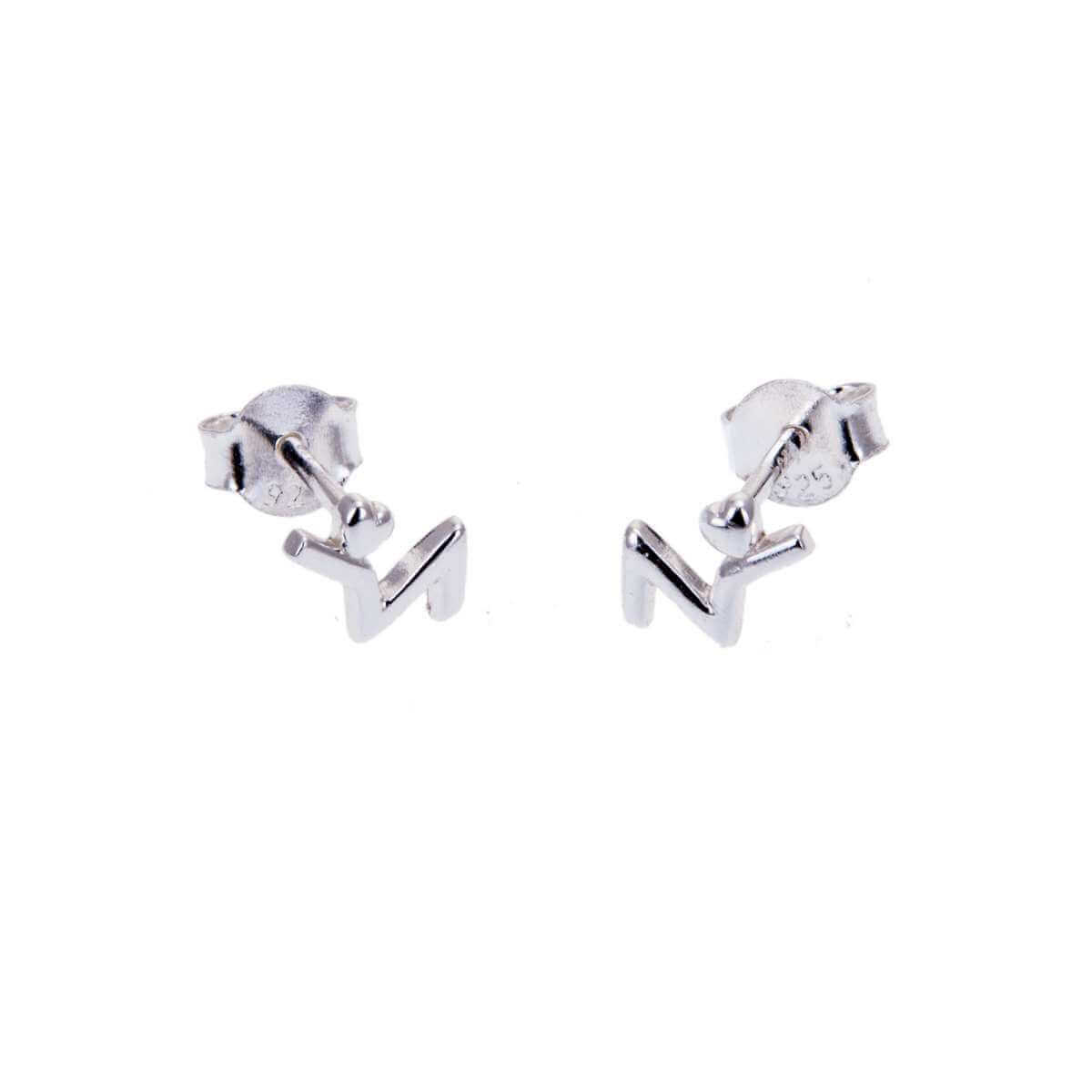 Sterling Silver Heart Beat Stud Earrings