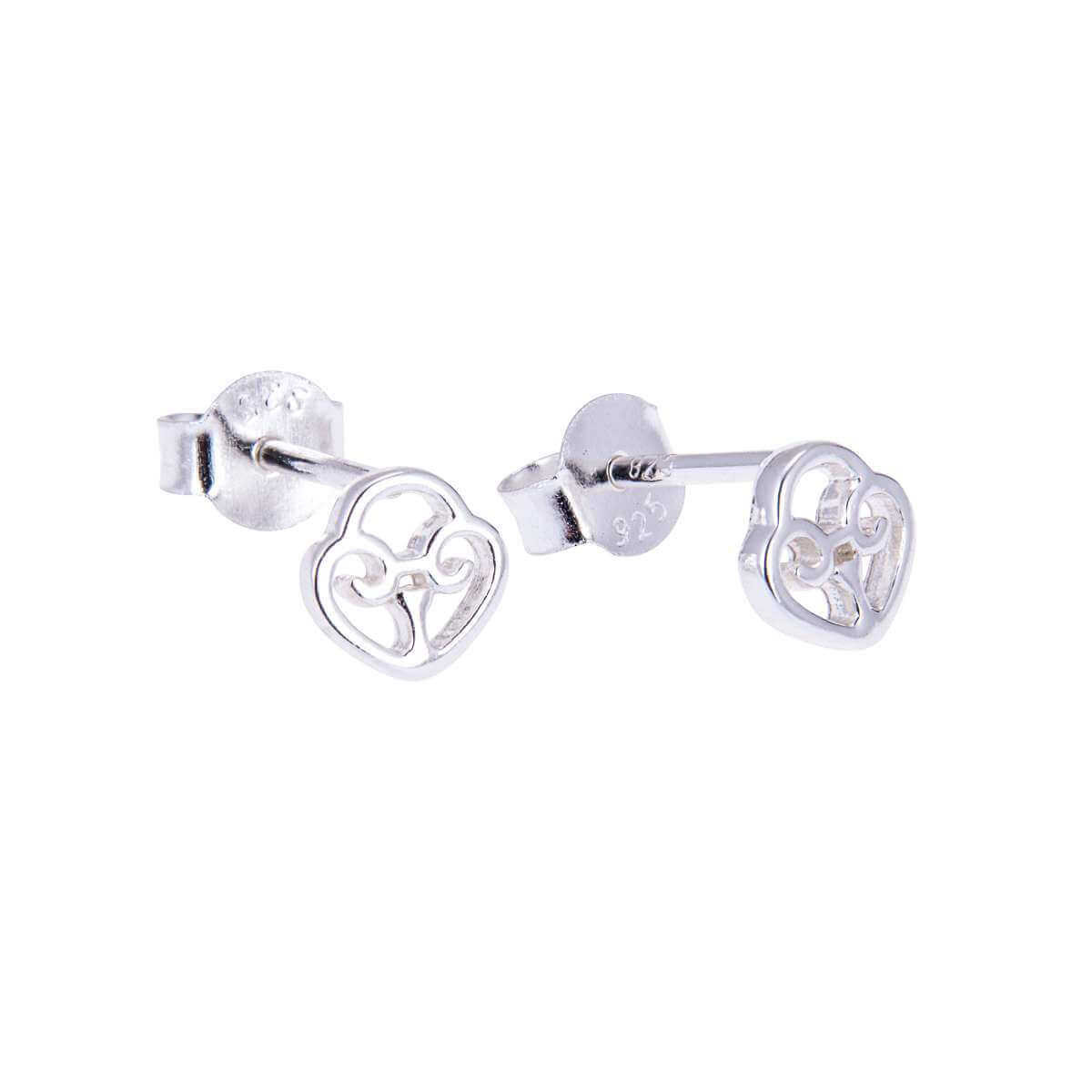 Sterling Silver Celtic Heart Padlock Stud Earrings