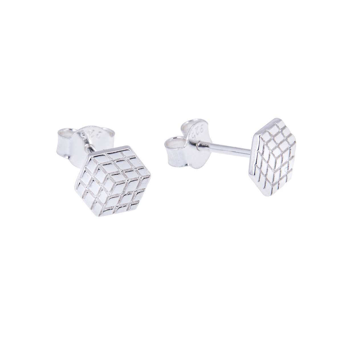 Sterling Silver Flat 3D Cube Stud Earrings