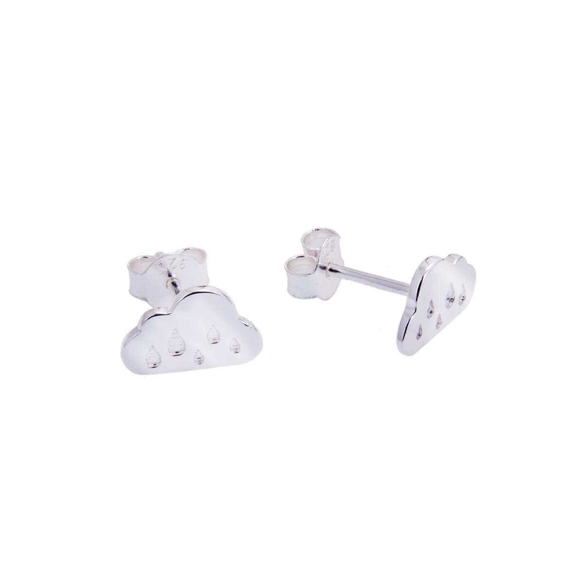 Sterling Silver Rainy Cloud Stud Earrings