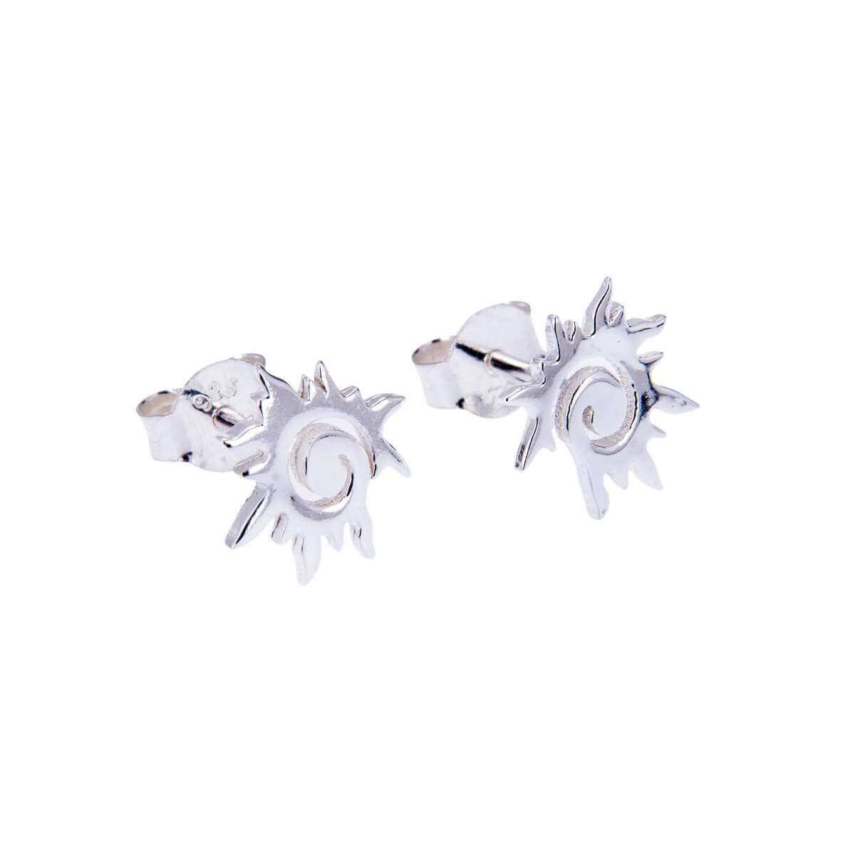 Sterling Silver Spiral Flaming Sun Stud Earrings