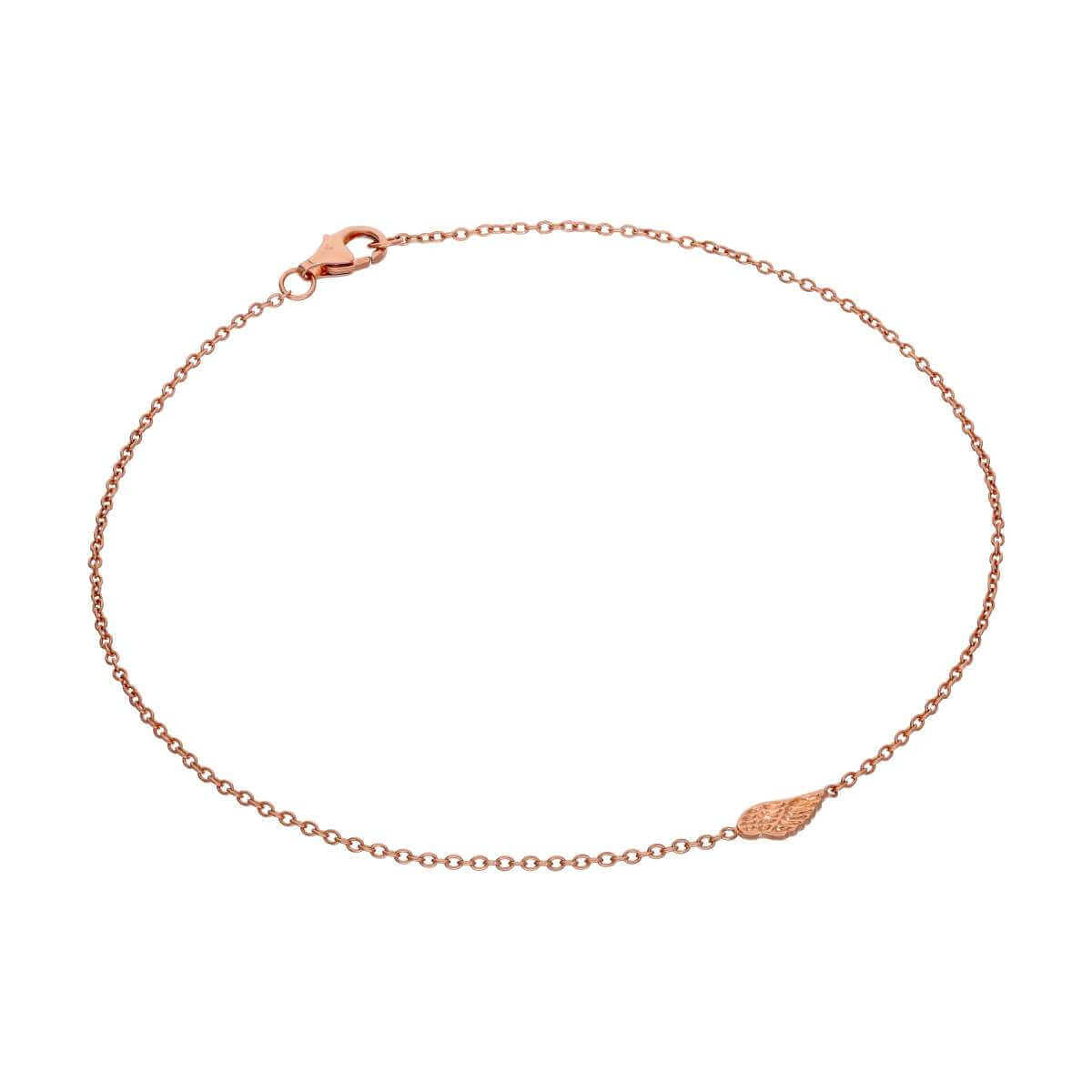 Fine Rose Gold Plated Sterling Silver Wing Belcher Anklet