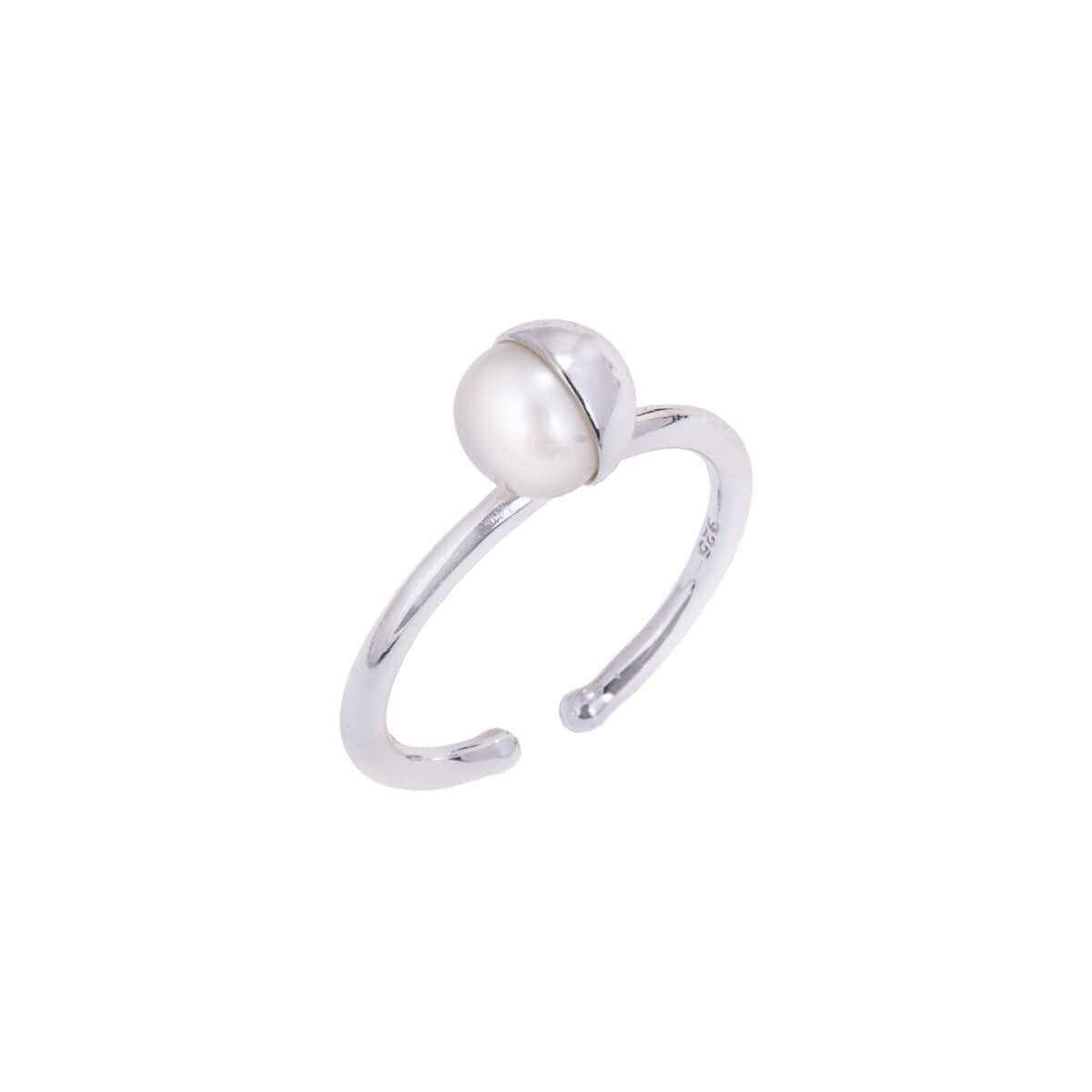 Sterling Silver Adjustable Ring with Pearl