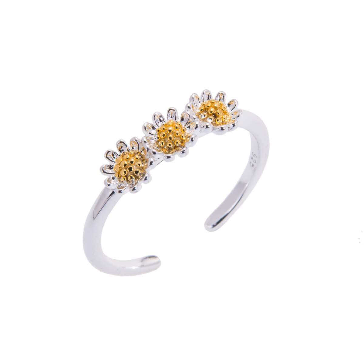 Gold Plated Sterling Silver Triple Daisy Adjustable Ring
