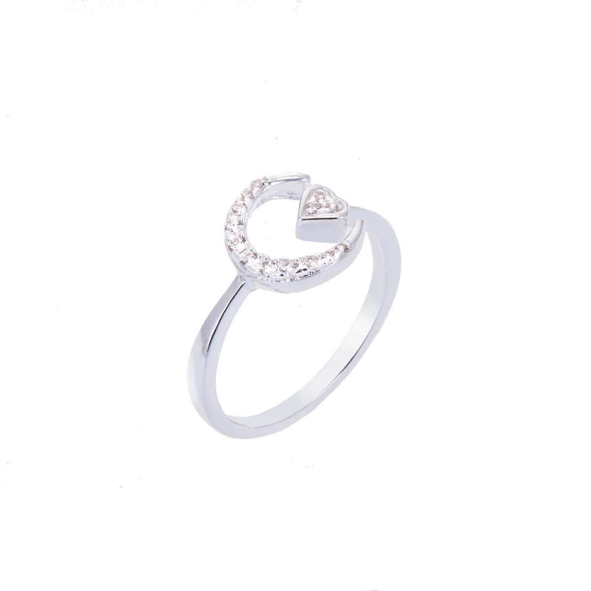Sterling Silver CZ Encrusted Heart & Crescent Adjustable Ring