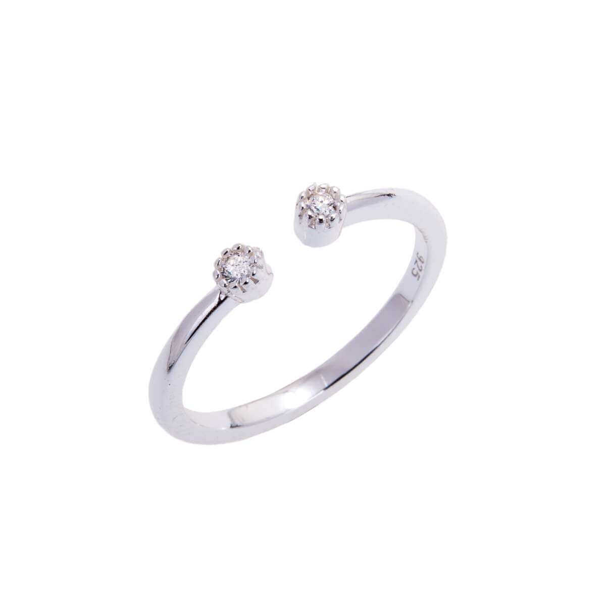 Sterling Silver & CZ Crystal Adjustable Ring