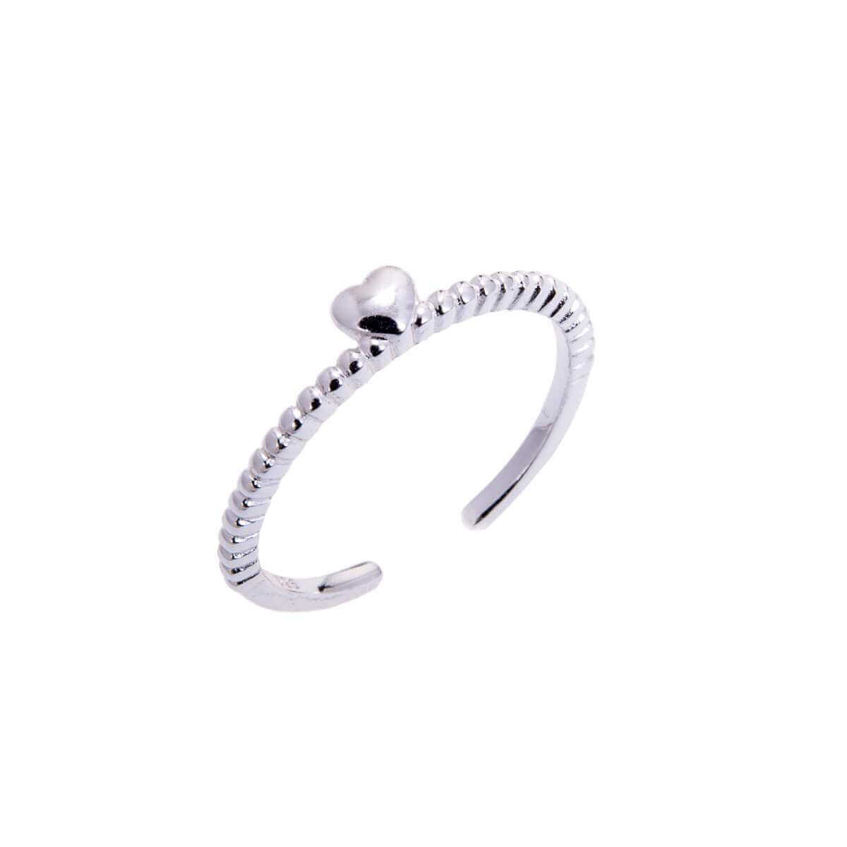 Sterling Silver Beaded Adjustable Ring with Heart