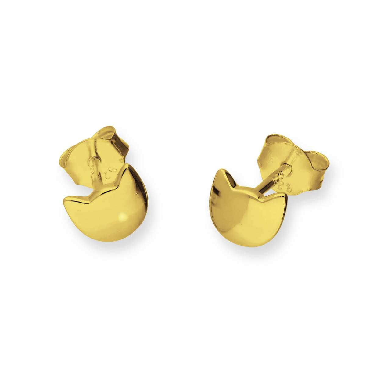 Gold Plated Sterling Silver Cat Head Stud Earrings