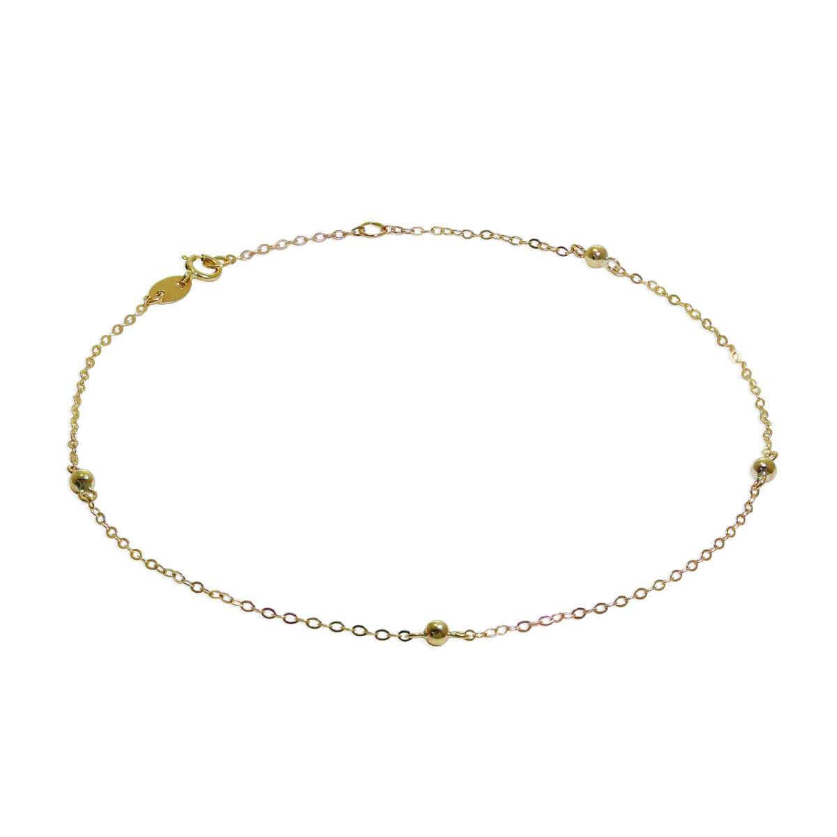 9ct Gold Hammered Trace Bobble 9.5 Inch Extender Anklet