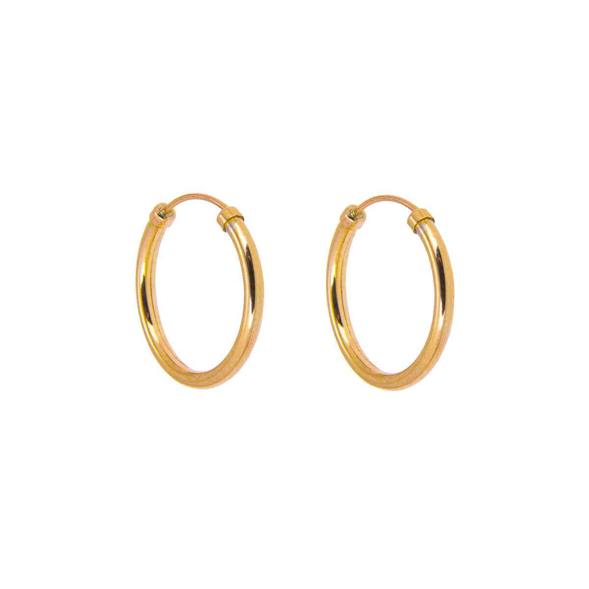 9ct Yellow Gold 14mm Capped Hoop Earrings