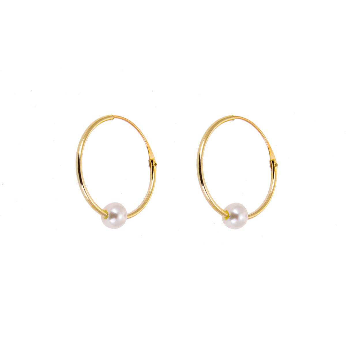 9ct Yellow Gold Hoop Earrings with Pearl