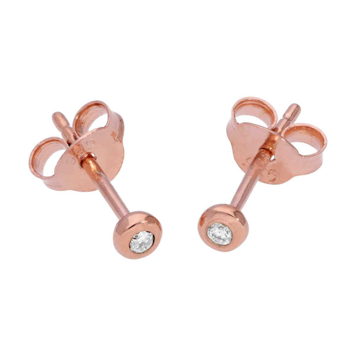 Rose Gold Plated Sterling Silver 0.03ct Diamond Solitaire Stud Earrings