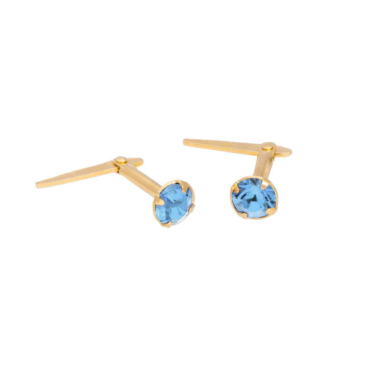 Gold Plated Sterling Silver & 3mm Light Sapphire CZ Crystal Andralok Earrings