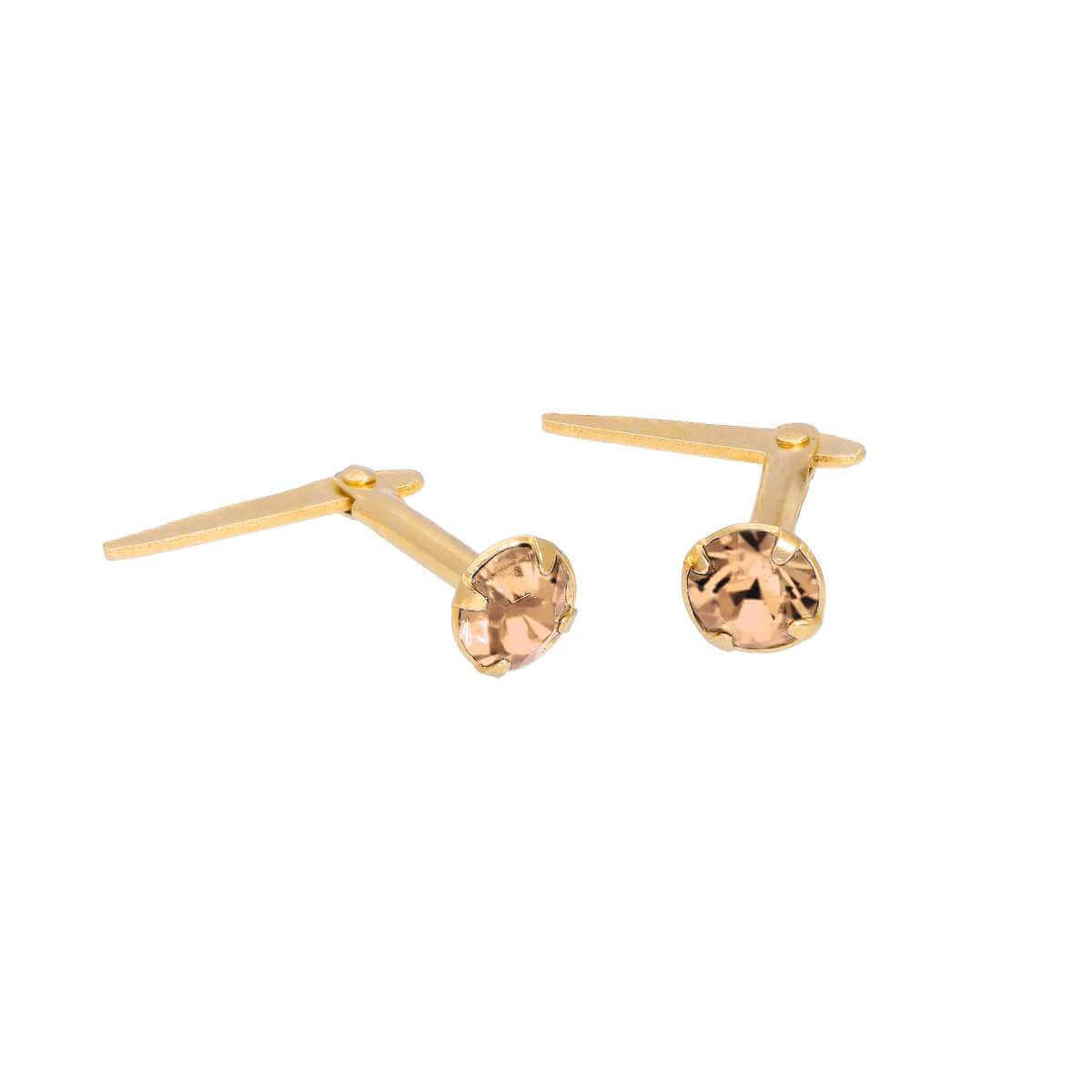 Gold Plated Sterling Silver & 3mm Peach CZ Crystal Andralok Earrings
