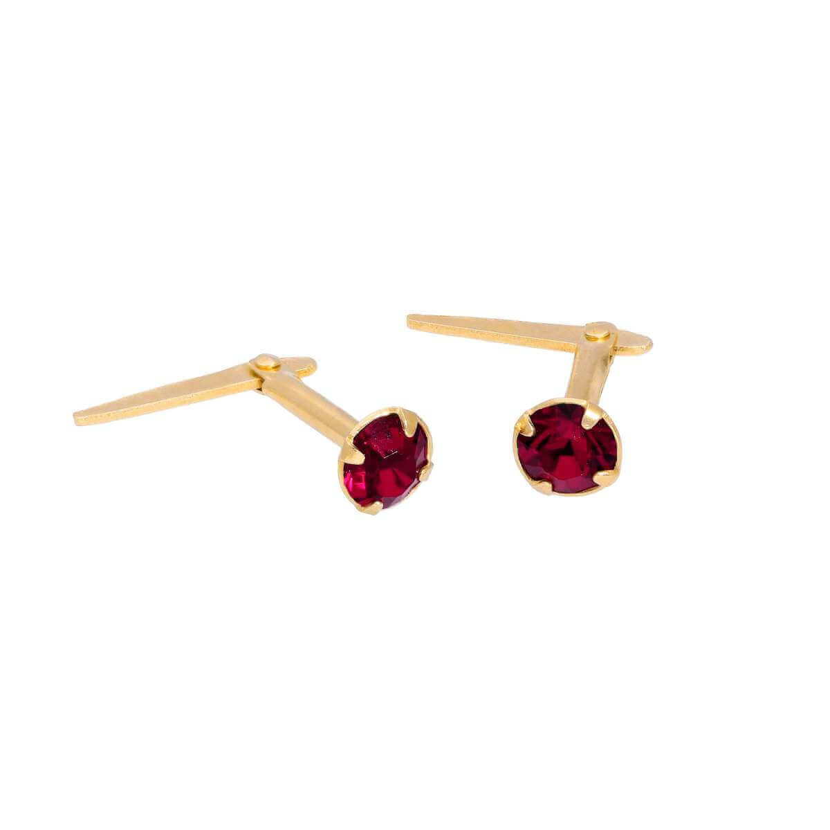 Gold Plated Sterling Silver & 3mm Ruby CZ Crystal Andralok Earrings