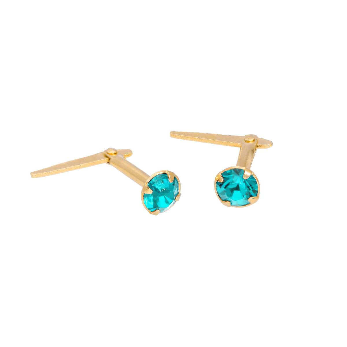 Gold Plated Sterling Silver & 3mm Aquamarine CZ Crystal Andralok Earrings
