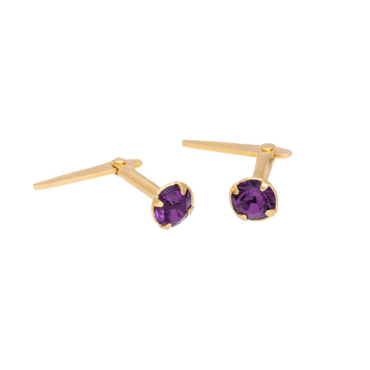 Gold Plated Sterling Silver & 3mm Amethyst CZ Crystal Andralok Earrings
