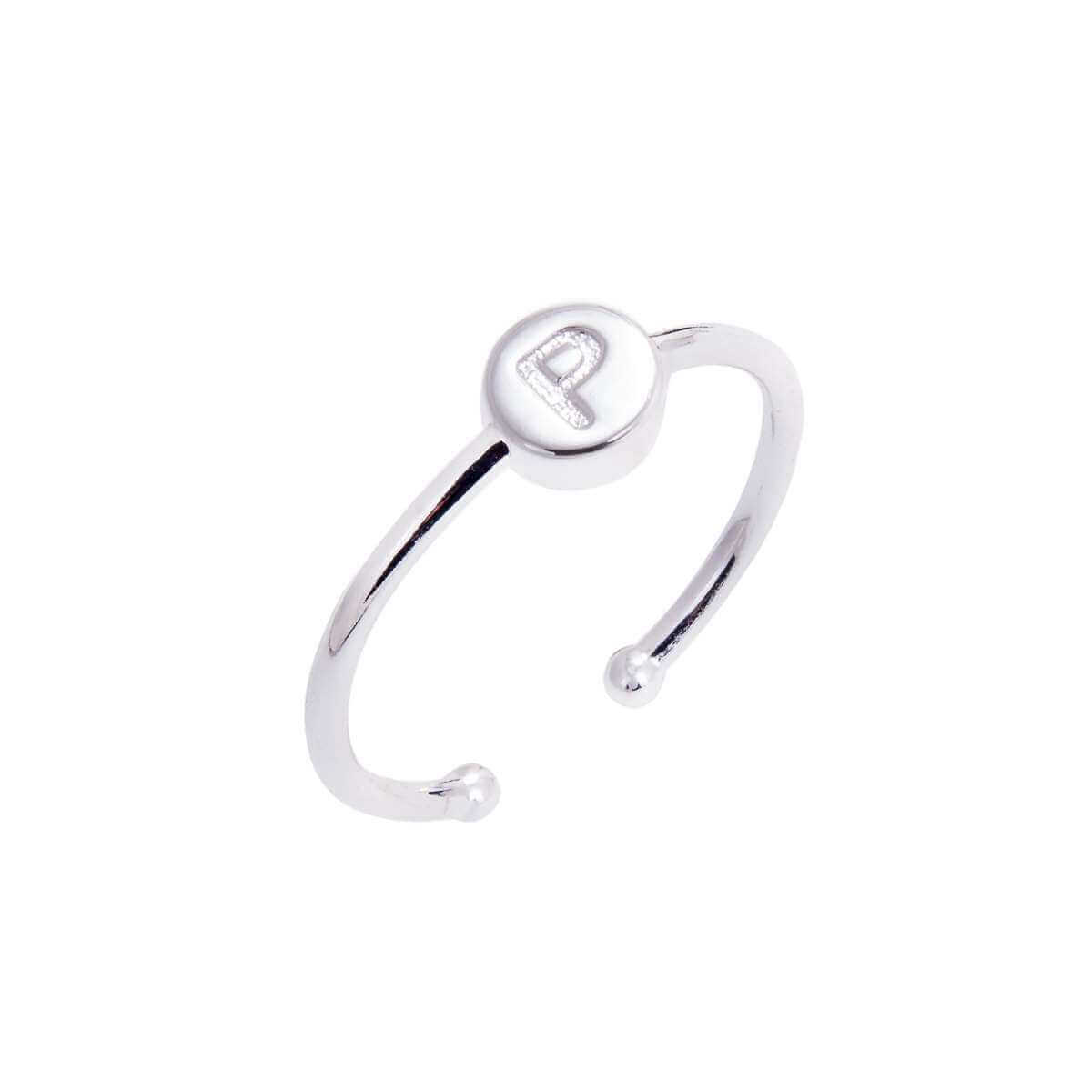 Sterling Silver Alphabet Letter P slider bead rings