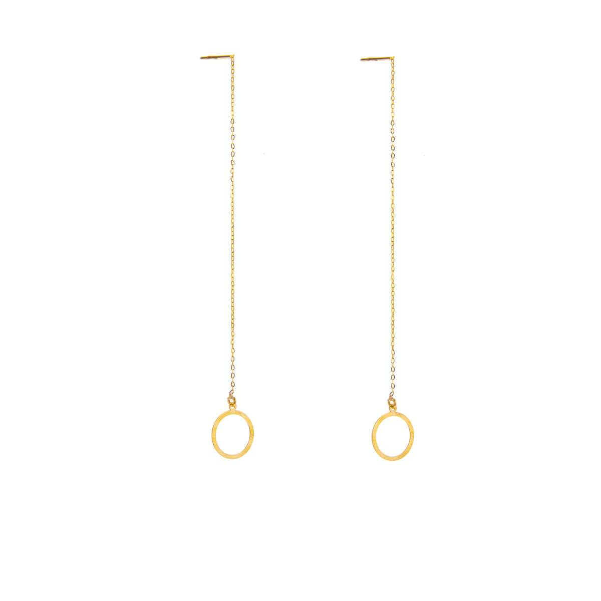 9ct Gold Karma Circle Pull Through Earrings