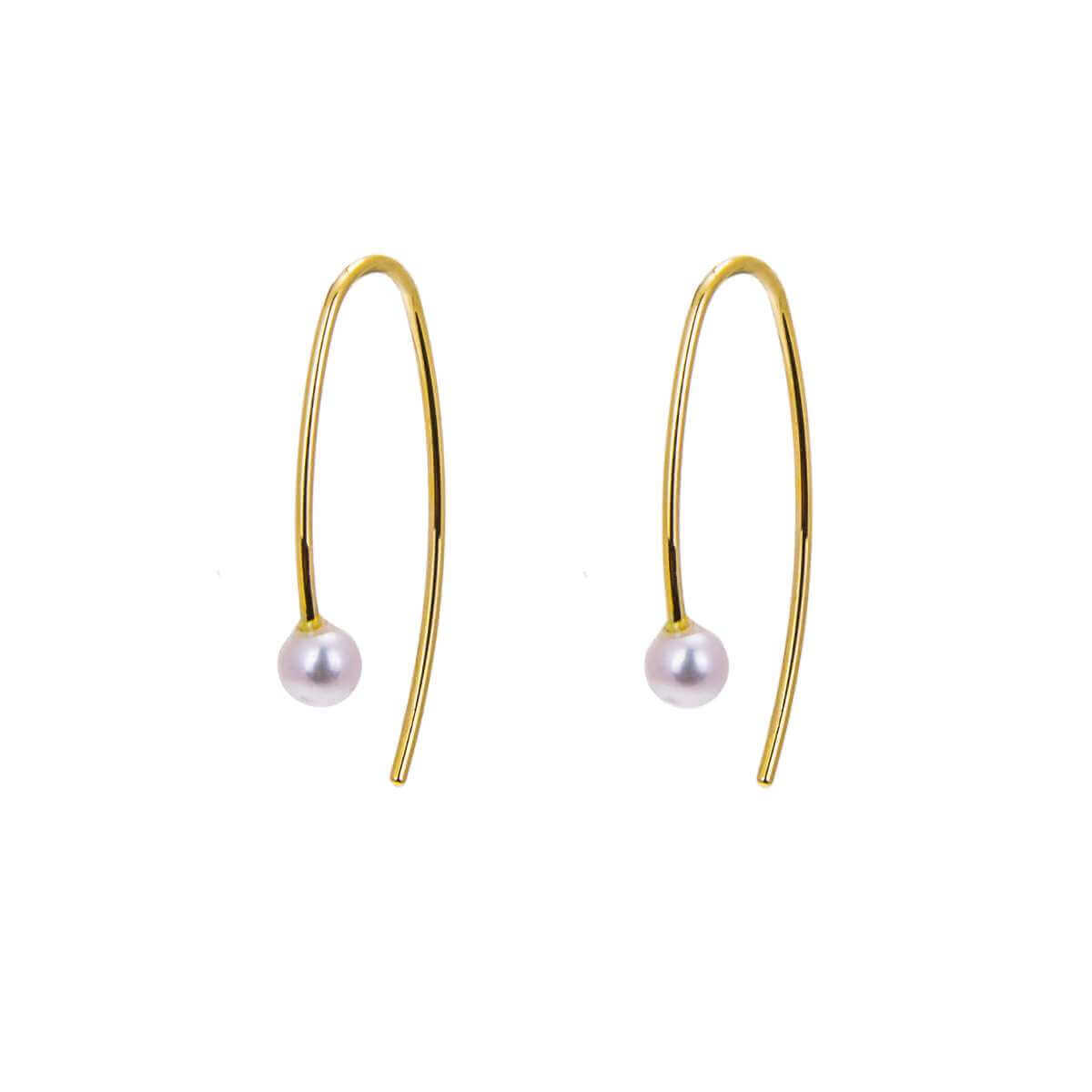 9ct Gold 3mm Freshwater Pearl Pull Through Wire Earrings