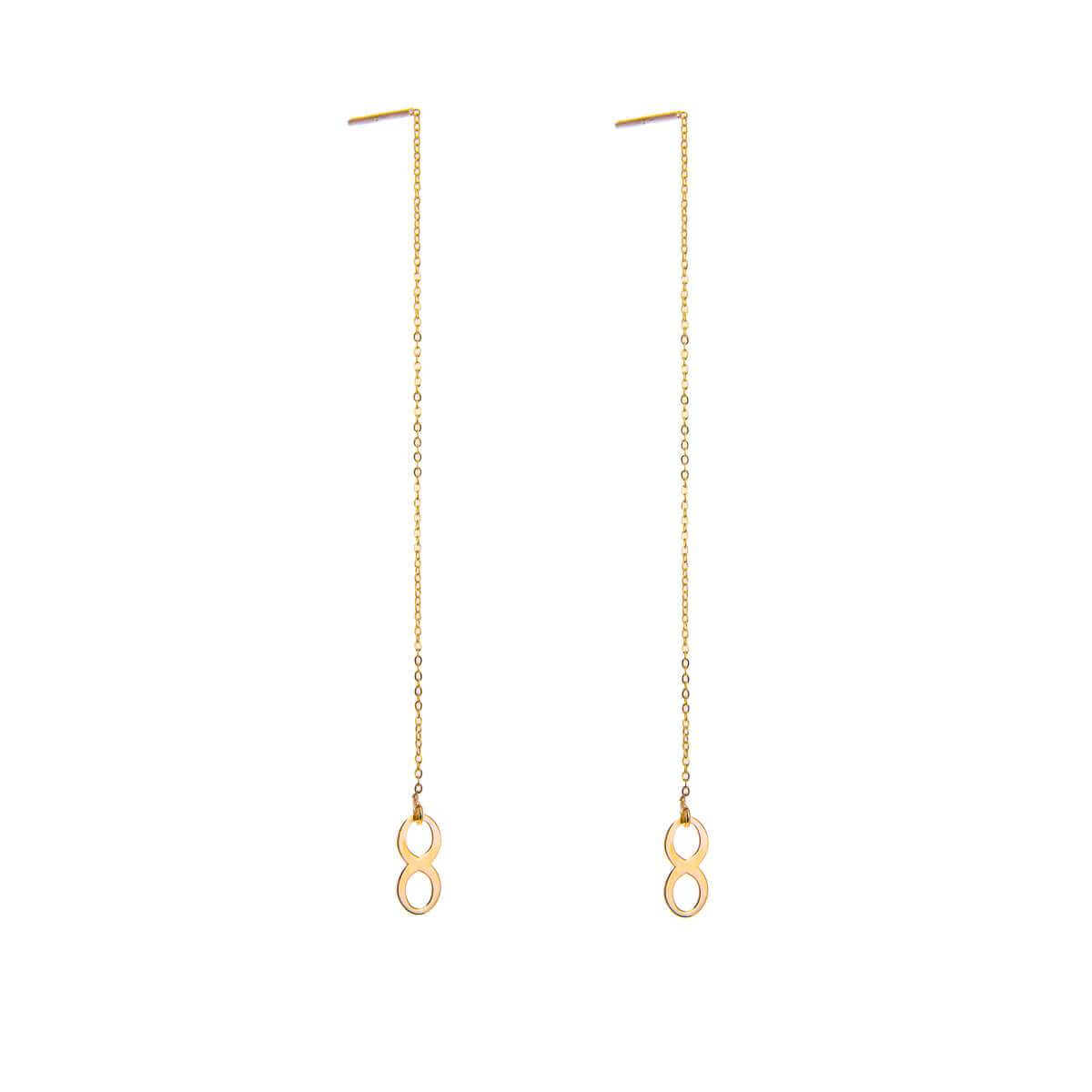 9ct Gold Infinity Pull Through Earrings