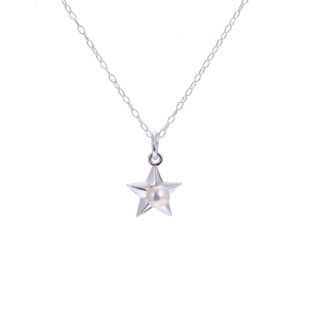 Sterling Silver Pearl Star Necklace - 14 - 22 Inches