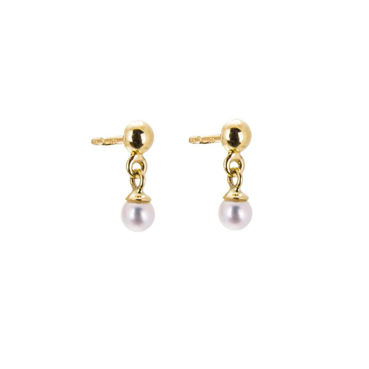 9ct Gold Small Ball Stud Drop Freshwater Pearl Earrings