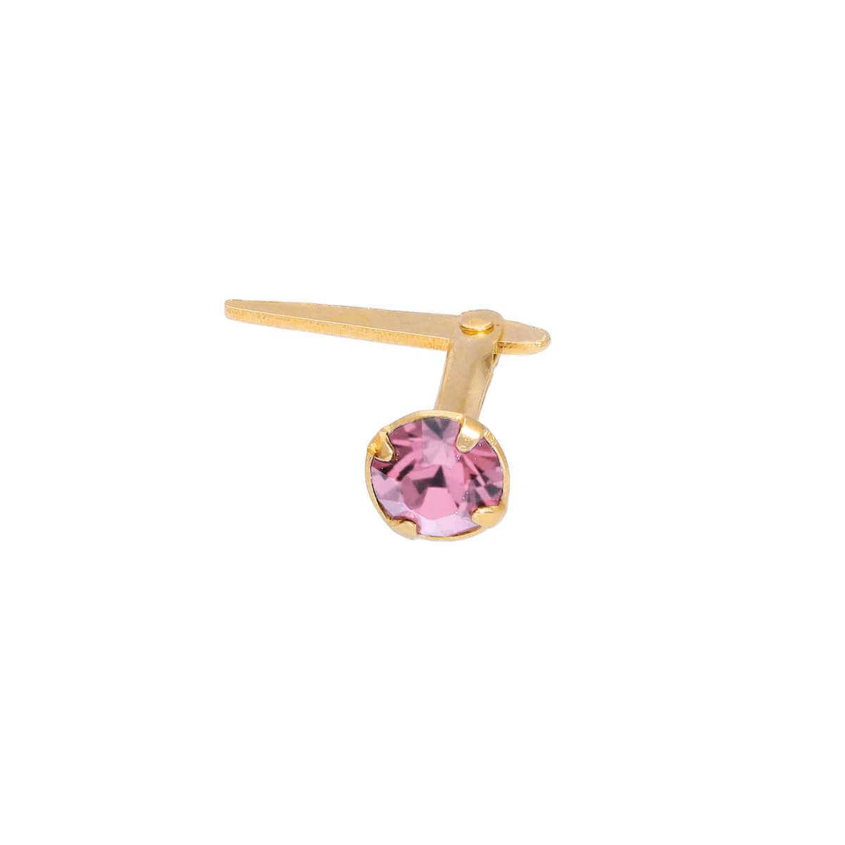 Gold Plated Sterling Silver 3mm Light Rose CZ Crystal Andralok Nose Stud