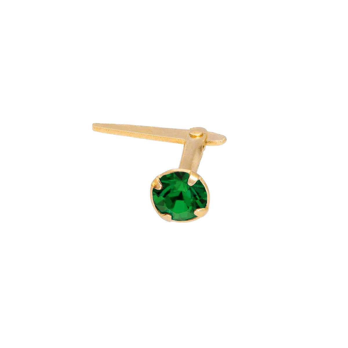 Gold Plated Sterling Silver 3mm Emerald CZ Crystal Andralok Nose Stud