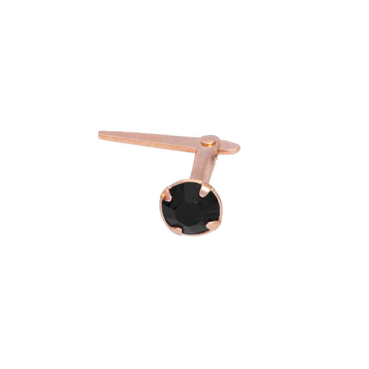 Rose Gold Plated Sterling Silver 3mm Black CZ Crystal Andralok Nose Stud