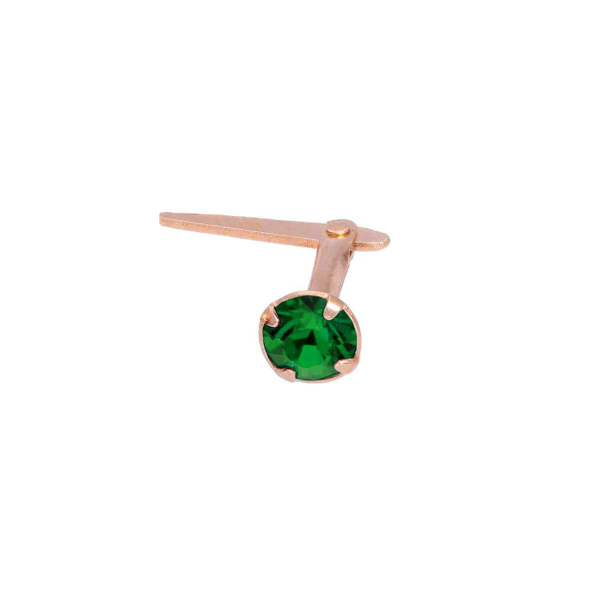 Rose Gold Plated Sterling Silver 3mm Emerald CZ Crystal Andralok Nose Stud