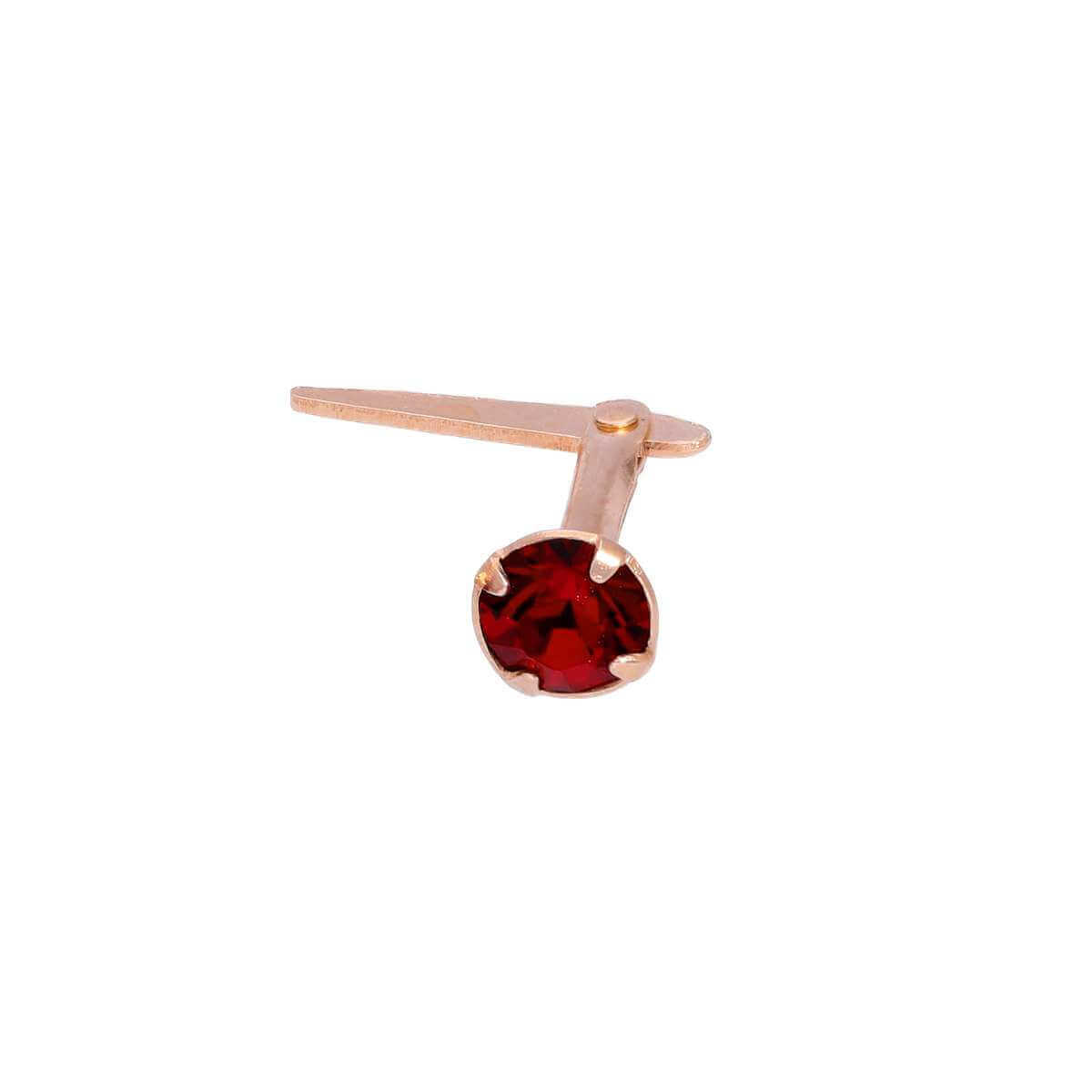 Rose Gold Plated Sterling Silver 3mm Garnet CZ Crystal Andralok Nose Stud