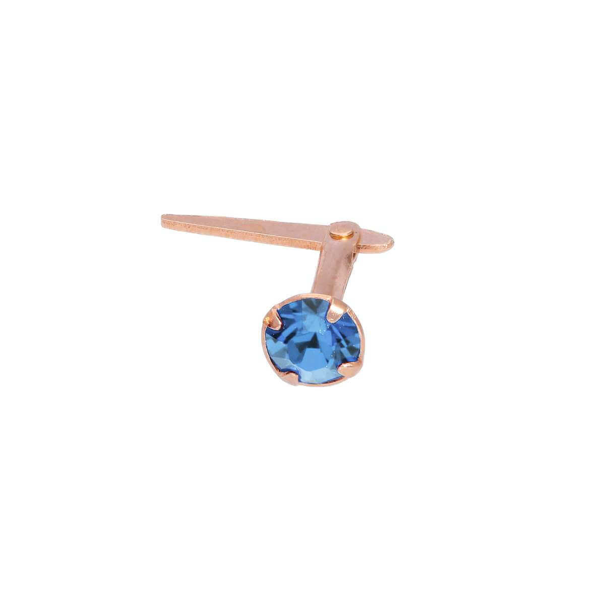 Rose Gold Plated Sterling Silver 3mm Light Sapphire CZ Crystal Andralok Nose Stud