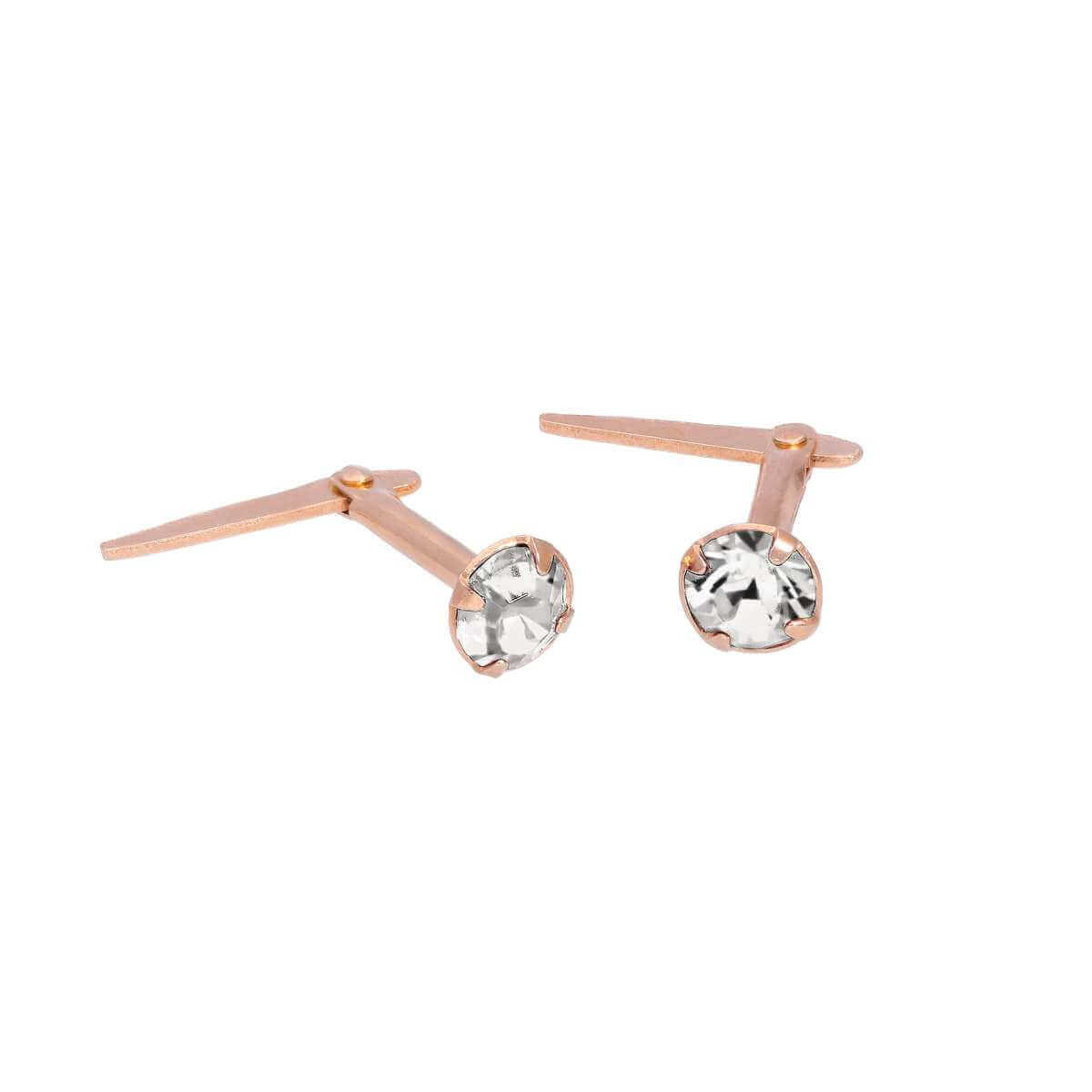 Rose Gold Plated Sterling Silver 3mm Clear CZ Crystal Andralok Stud Earrings