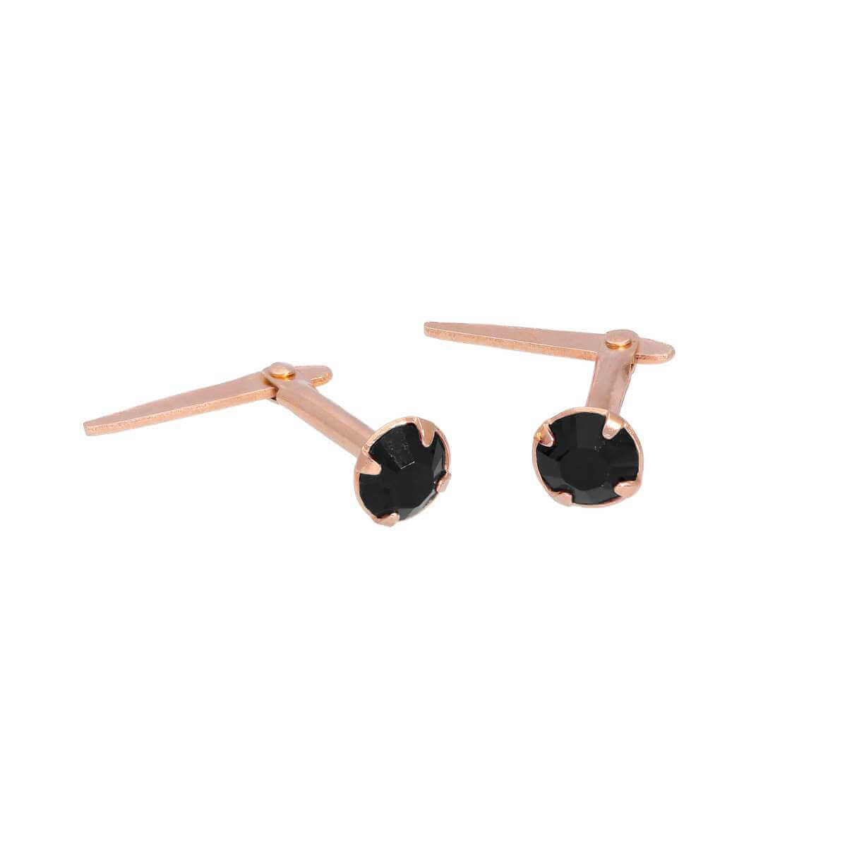 Rose Gold Plated Sterling Silver 3mm Black CZ Crystal Andralok Stud Earrings
