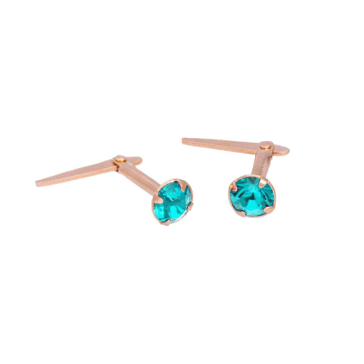 Rose Gold Plated Sterling Silver 3mm Aqua CZ Crystal Andralok Stud Earrings
