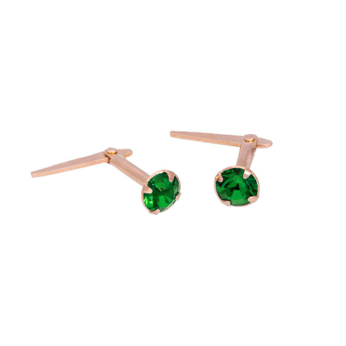 Rose Gold Plated Sterling Silver 3mm Emerald CZ Crystal Andralok Stud Earrings