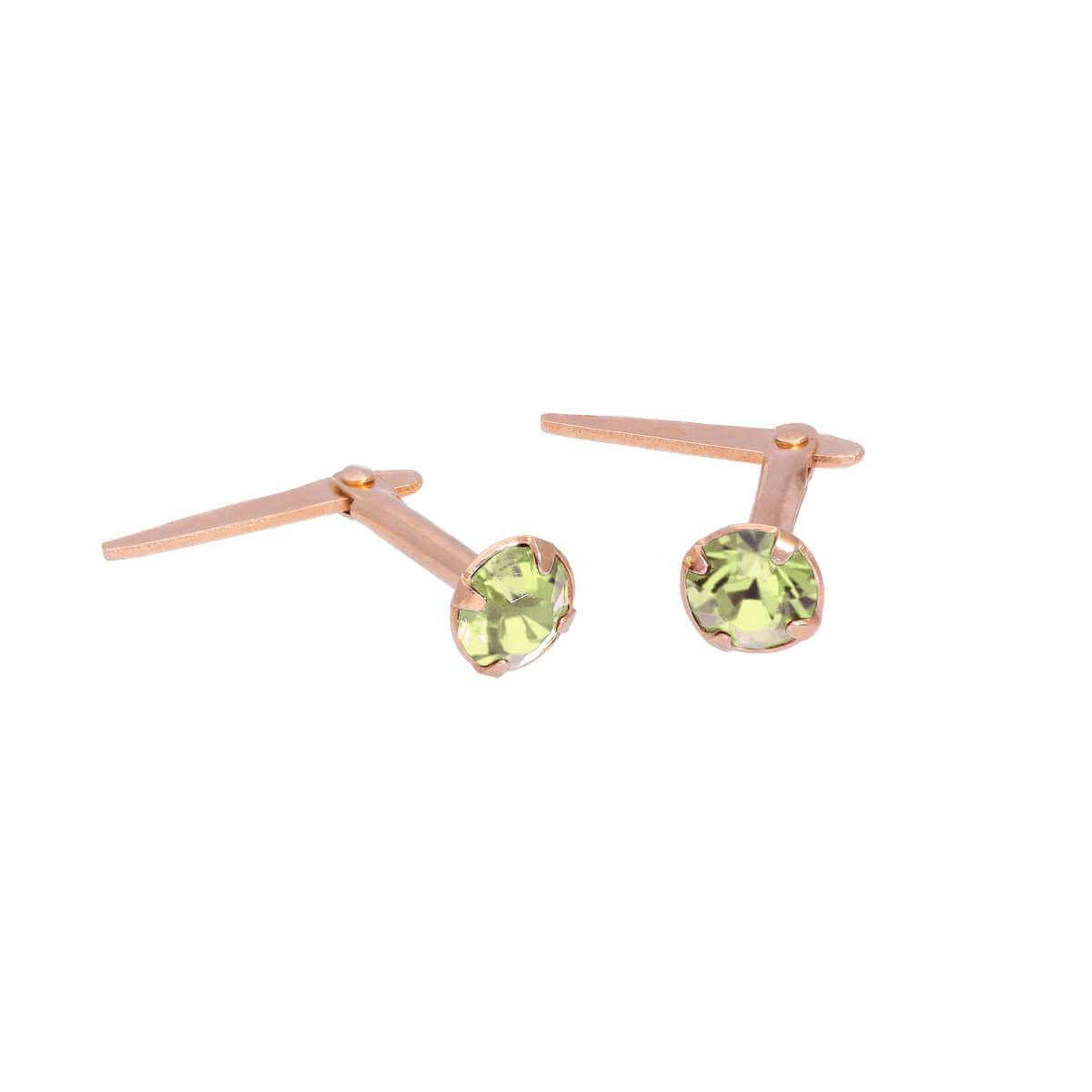 Rose Gold Plated Sterling Silver 3mm Peridot CZ Crystal Andralok Stud Earrings
