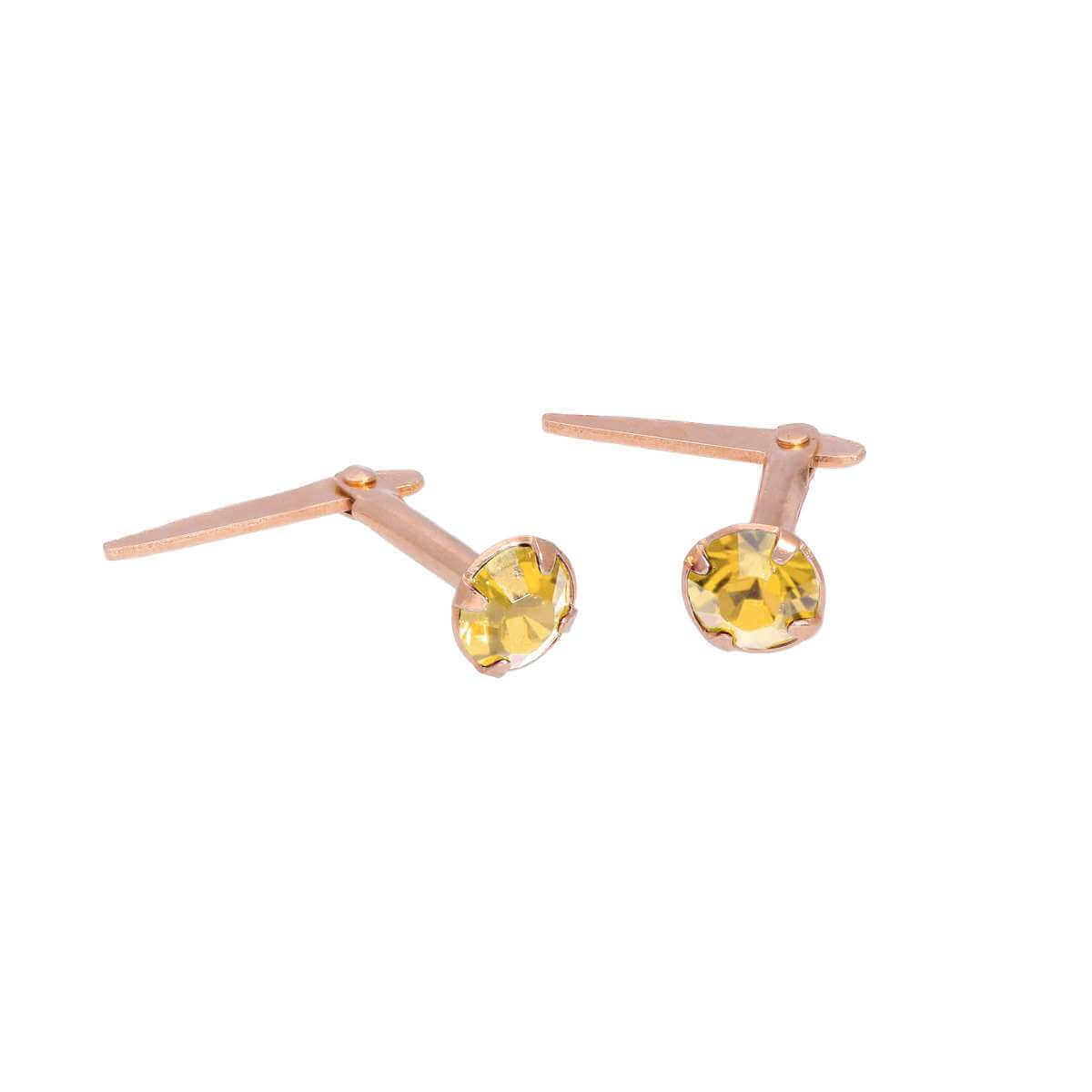 Rose Gold Plated Sterling Silver 3mm Citrine CZ Crystal Andralok Stud Earrings