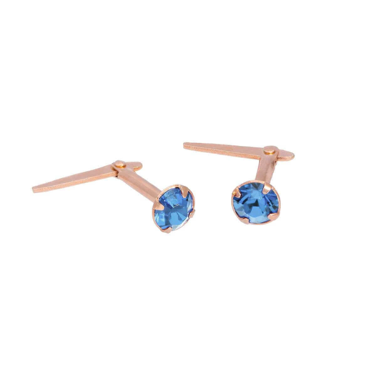 Rose Gold Plated Sterling Silver 3mm Light Sapphire CZ Crystal Andralok Stud Earrings