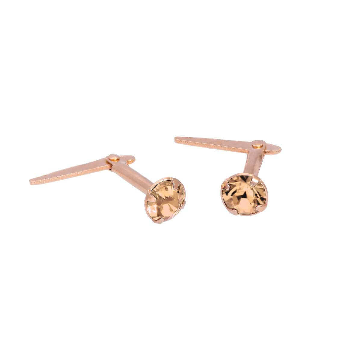 Rose Gold Plated Sterling Silver 3mm Peach CZ Crystal Andralok Stud Earrings